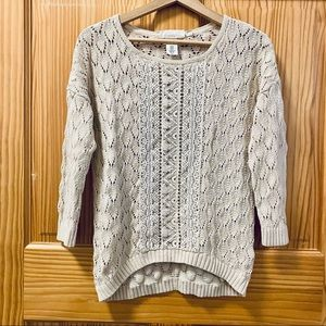 LOGG by H&M white open weave cableknit sweater XS